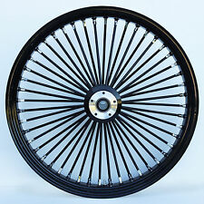 "Black/Black 48 King Spoke 21"" x 3.5"" Front SD Wheel for Harley & Custom Models"