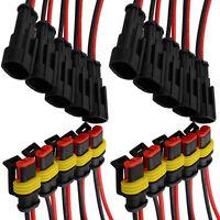 10x KFZ 2-Polig Kabel Steckverbinder Stecker Wasserdicht Schnellverbinder