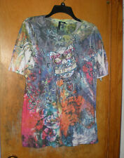 New Directions Blue Red Green Print Top w/ Lots of Crystals on Front Size Medium