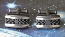 MONTBLANC RECTANGULAR CUFFLINKS RUBBER & BRUSHED STAINLESS STEEL - NEW OLD STOCK