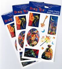 3 New Packs WIZARD Magic Beans Wand Black Cat Key Fantasy Stickers!