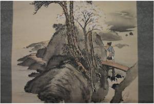 Painting Hanging Scroll KAKEJIKU RAISHO TANAKA Cherry Blossom & Fisherman