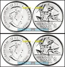 2x CANADA 2009 CANADIAN OLYMPIC QUARTER WOMEN'S HOCKEY 25 CENT COIN LOT UNC