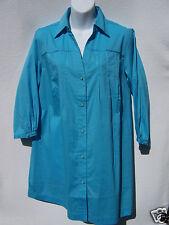 QVC Women's Motto 3/4 Sleeve Button Front Tunic Top Shirt Aqua Blue Small  NWOT