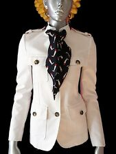 GUCCI RUNWAY Royal White Military Jacket With Silk Scarf 38 XS $3250~MADE ITALY