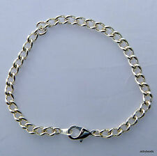 """12 CHARM BRACELET BLANKS SILVER PLATED 8 1/2""""/ 21.5CM WITH LOBSTER CLASP"""