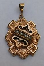 Antique Pendant Victorian Rose Gold Filled Natural Seed Pearl St Andrews Cross