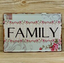 LOVELY FAMILY FLOWER STAMP  METAL TIN RETRO  RUSTIC  SIGN
