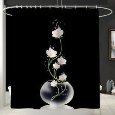Flower Printed Bathroom Bath Mat Set Shower Curtain Rugs Toilet Cover Carpets @