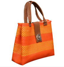 Oaxacan Handwoven Tote Bag Fully Lined Made of Recycled Plastic Orange