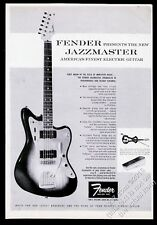 1958 Fender Jazzmaster guitar & electric violin photo vintage print ad