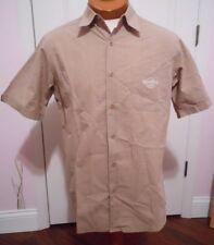 Hard Rock Cafe Yankee Stadium Beige Men's Camp Shirt Button Up Short Sleeve SZ M