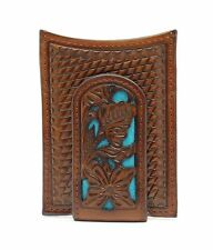 Nocona Western Mens Money Clip Weave Floral Overlay Turquoise Brown N5426527