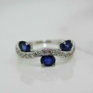 18ct White Gold Sapphire and Diamond Eternity Ring (Size F, US 3)