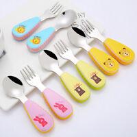 Baby fork and spoon toddler utensils feeding training child tableware set 2 TFSU