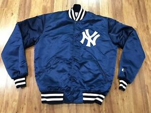 MENS LARGE TALL - Vtg 80s New York Yankees Starter Sewn Snap Quilted Jacket USA