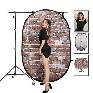 Pop Up Backdrop Collapsible Reversible 1.5x2m with Light Stand Wheels Studio UK