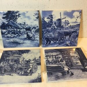 "Set Of Four Vintage Delft Holland Hand Painted 6"" x 6"" Royal Mosa Tiles"