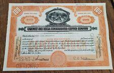 Set of 4 Calumet and Hecla Stock Certificates