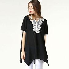 V Neck Short Sleeve Chiffon Hip Length Women's Tops & Shirts
