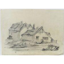 Original Signed Unframed Antique Pencil Cottage Landscape Sketch Annie Albinson