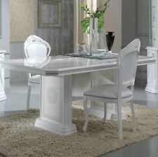 VERSACE DESIGN WHITE & SILVER ITALIAN HIGH GLOSS DINING TABLE & 6 FABRIC CHAIRS