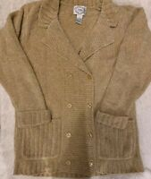 Stitches In Time QVC Long Sleeve Double Breasted Tan Cardigan Sweater Women's M