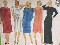 Vogue Sewing Pattern 2918 Misses Ladies Dress Tunic Skirt Belt Size 12 Uncut