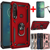 For Motorola Moto G8 Play/Plus Shockproof Amor Ring Stand TPU Hard Case Cover