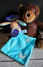 Doudou Lapin mouchoir bleu étoile lune phosphorescent Baby Nat Neuf
