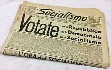 """Vecchio QUOTIDIANO """"SOCIALISMO"""" Liguria 19/5/1949 Repubblica - Monarchia PERTINI"""