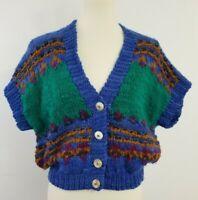 Manos Del Uruguay Sweater Vest M Virgin Wool Handknit Fair Isle Boho Crop VTG