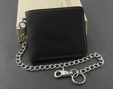 Basic Simple Biker Trucker Mens SOFT Leather Bifold Wallet With Long Key Chain