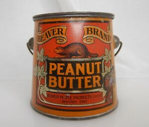 Beaver Brand Peanut Butter Canada Advertising Food Tin Pail Can - 83904