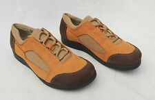 HELVESKO SWISS MADE ORANGE & BROWN LEATHER LACE UP TRAINERS EU37 UK4 FREE P&P
