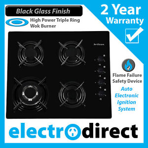 Brilcon 60cm Gas Cooktop Stove Black Glass Easy to Clean Cook Top Hob Cooker