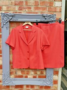 Eastex coral pink suit skirt size 18 jacket size 20 wedding mother of the bride