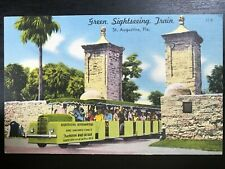 Vintage Postcard>1930-1945>Green Sightseeing Train>St. Augustine>Florida