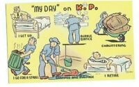 """WWII 1940's Military Comic Postcard """"MY DAY ON K.P.""""  Linen Unused Vintage Army"""