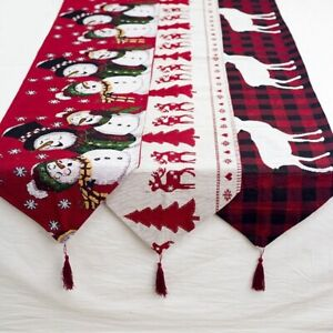 Christmas Table Runner Cover Xmas Cotton Linen Tablecloth Dining Party Decor 6FT