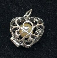 Vintage Ladies Sterling Silver Filigree Heart Pendant Locket Removable Pearl