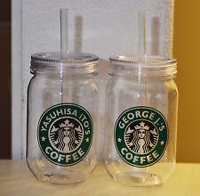 Personalized Starbucks Cup Single Wall 24 oz. Plastic Mason Jar