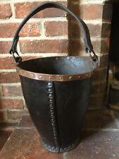 Lovely Antique Leather & Copper Fire Bucket Fireplace or Waste Paper Bin