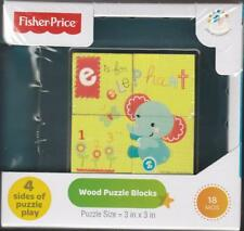 Fisher Price Wood Puzzle Baby Blocks Puzzle 18 mos New in Box Nib Toy Gift Set