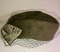 VINTAGE 40'S-50'S LOVELY!! OLIVE GREEN WOOL FASCINATOR VEIL & NO PILLBOX HAT