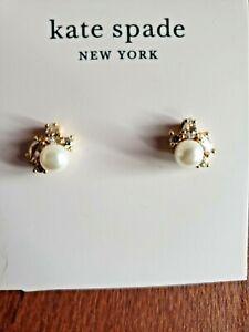 kate spade- Little Gem- Pearl Cluster Stud Earrings- Cream/ gold- NWT - $48   D4