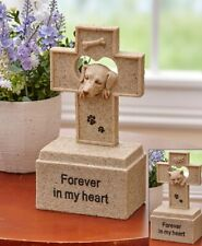 "Pet Cross Memorial Urn Statue Dog or Cat ""Forever in My Heart"""