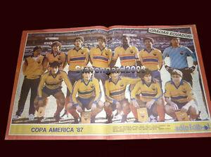 "SOCCER ECUADOR TEAM COPA AMERICA ARGENTINA 1987 - Poster 21,65 x 13,78"""