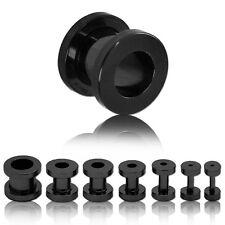 Set Tunnel Schwarz Plug Flesh Ohr 1,6 2 3 4 5 6 8 10 mm Piercing Ohr Edelstahl