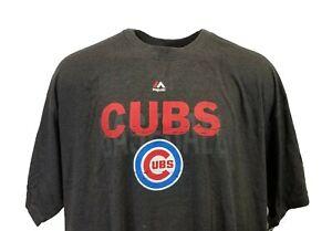 Chicago Cubs MLB Majestic Grey Team Logo T Shirt Big & Tall 5XL, 6XL